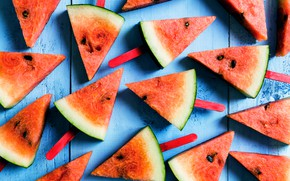 Картинка арбуз, fresh, wood, дольки, watermelon, slice