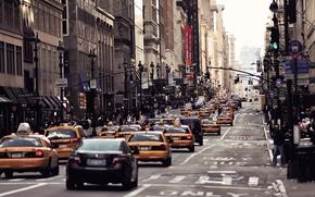 Обои машины, город, движение, люди, улица, США, Америка, Нью - Йорк