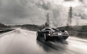Картинка дорога, дождь, скорость, Koenigsegg, суперкар, supercar, CCXR