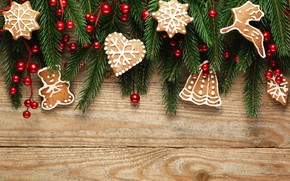 Картинка ягоды, елка, Новый Год, печенье, Рождество, happy, Christmas, wood, New Year, Merry Christmas, Xmas, cookies, ...