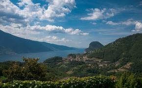 Обои Город, Панорама, Пейзаж, Panorama, Гардское озеро, Town, Lago di Garda, Озеро Гарда