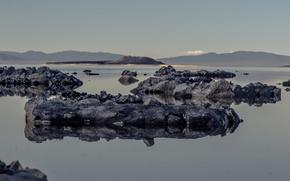 Картинка озеро, камни, Калифорния, США, Моно