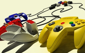 Картинка red, game, yellow, blue, retro, Nintendo, fun, gray, joystick, video game, cartridge, N64, Nintendo-64, Nintendo …