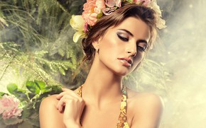 Обои прическа, модель, плечи, шатенка, девушка, руки, макияж
