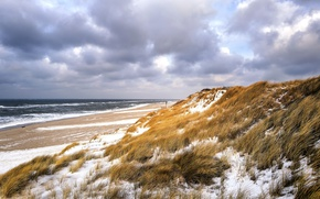 Картинка зима, море, пляж, дюны