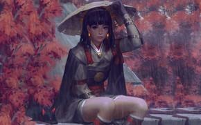 Обои дождь, шляпа, доспехи, Япония, art, Guweiz, женщина-воин, осенние деревья