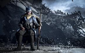 Картинка gun, game, soldier, weapon, war, Battlefield, man, rifle, dagger, Battlefield 1, WW 1