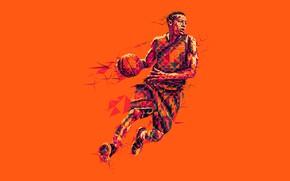 Обои баскетболист, мяч, игра, low poly, баскетбол