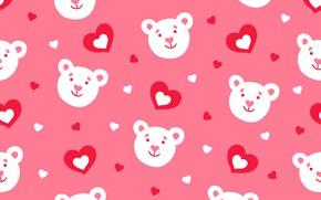 Картинка узор, паттерн, сердечки, мишки, pattern, seamless, Floral, бесшовный