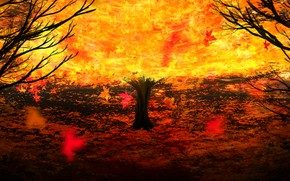 Картинка осень, дерево, огонь, by Y_Y