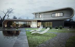 Обои дизайн, дом, дерево, газон, кусты, S-House