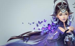 Картинка девушка, магия, бабочка, арт, Цзянь Ван