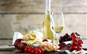 Картинка вино, помидоры, колбаса, бекон