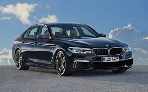 Картинка небо, облака, чёрный, BMW, стоянка, седан, 5er, четырёхдверный, 2017, 5-series, G30, M550i xDrive, 462 л.с., …