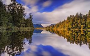Картинка осень, лес, деревья, горы, озеро, отражение, Новая Зеландия, New Zealand, Lake Matheson, Южные Альпы, Southern …