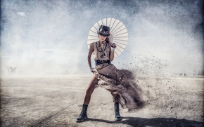 Картинка Steampunk, платье, девушка, ветер, зонт