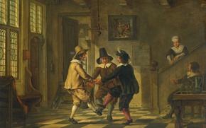 Картинка дерево, масло, интерьер, картина, жанровая, Трое Мужчин в Костюмах Танцуют в Доме