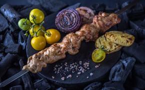 Картинка лук, мясо, помидор, шашлык, картофель, гриль
