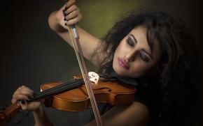 Обои музыка, скрипка, девушка