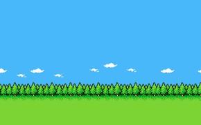 Картинка Ретро, Лес, Фон, Графика, Пиксели, 8bit, 8бит, PXL