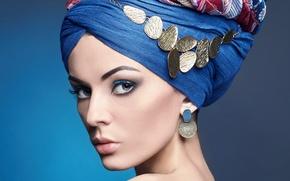 Картинка девушка, стиль, макияж, украшение, косынка, Alisa Ustyuzhanina