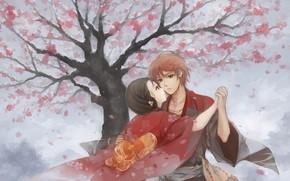 Картинка романтика, арт, пара, двое, Hanasaku Manimani