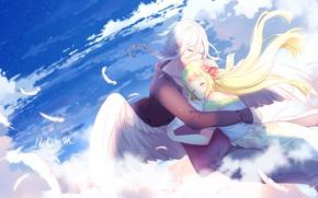 Обои обнимашки, lluluchwan, романтика, ангел, парень, арт, небо, двое, девочка
