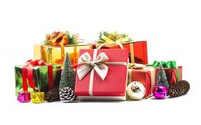 Картинка игрушки, новый год, подарки, шишки, декор