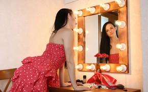Картинка платье, гримёрка, Veronica Snezna, отражение, зеркало, брюнетка