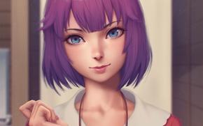 Картинка девушка, лицо, улыбка, anime, art, Hitagi Senjougahara, Monogatari