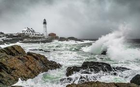 Картинка море, волны, берег, маяк