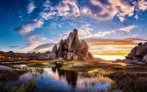Обои камни, небо, скалы, озеро