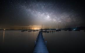 Обои млечный путь, пристань, звезды, море