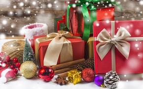 Картинка праздник, новый год, ель, подарки, банты