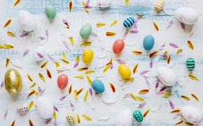 Картинка Пасха, Яйца, Лепестки, Праздник