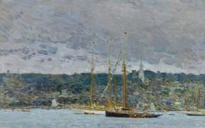 Картинка пейзаж, корабль, картина, мачта, Ньюпорт, Frederick Childe Hassam, Чайльд Гассам