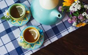 Обои tea, lemon, ромашка, herbal, wood, травы, чашка, чай, лимон, cup