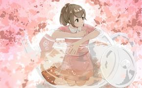 Картинка листья, девушка, чайник