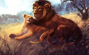 Картинка Рисунок, Двое, Животные, Львы