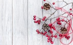 Обои ветки, xmas, decoration, wood, ягоды, Рождество, шишки, merry christmas, Новый Год