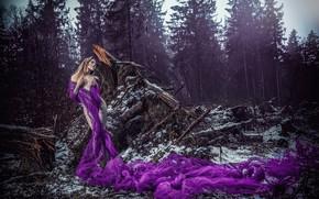 Обои поза, фигура, ситуация, коряги, ULTRAVIOLET, девушка, шаль, лес
