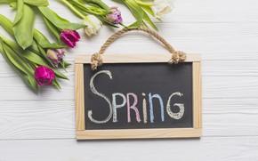 Картинка цветы, весна, colorful, тюльпаны, доска, wood, pink, flowers, tulips, spring
