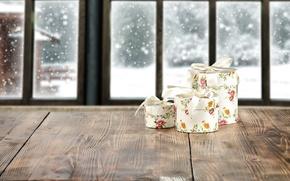 Картинка winter, snow, window, gifts