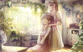 Картинка цветы, комната, девочки