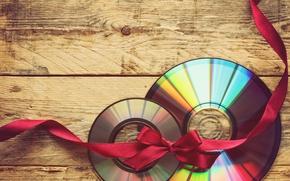 Картинка подарок, доски, пара, диски, красная, бантик, ленточка