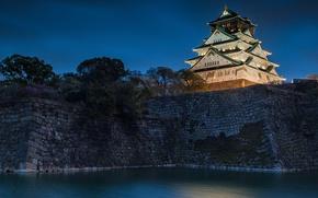 Картинка вода, ночь, замок, Япония, Japan, Osaka, Осака, ров, насыпь, Osaka Castle