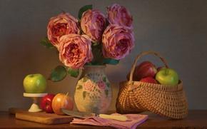 Картинка цветы, яблоки, розы, букет, нож, натюрморт, корзинка