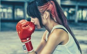 Картинка волосы, профиль, девушка, лицо, боксерские перчатки