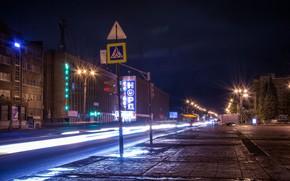 Картинка дорога, машины, ночь, огни, знак, екатеринбург, уралмаш