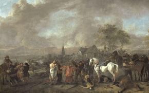 Картинка масло, картина, холст, Филипс Вауэрман, Победа Крестьян